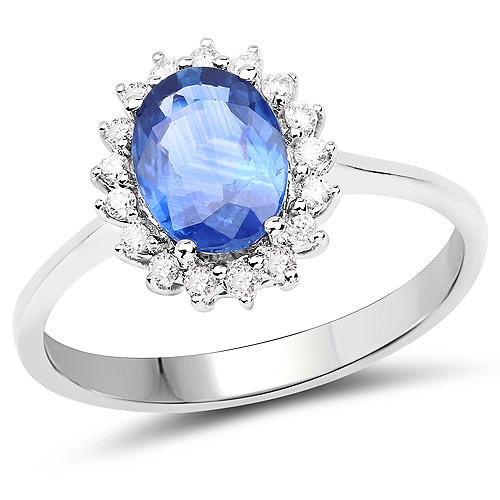 Sapphire-1.68 Carat Genuine Blue Sapphire and White Diamond 14K White Gold Ring