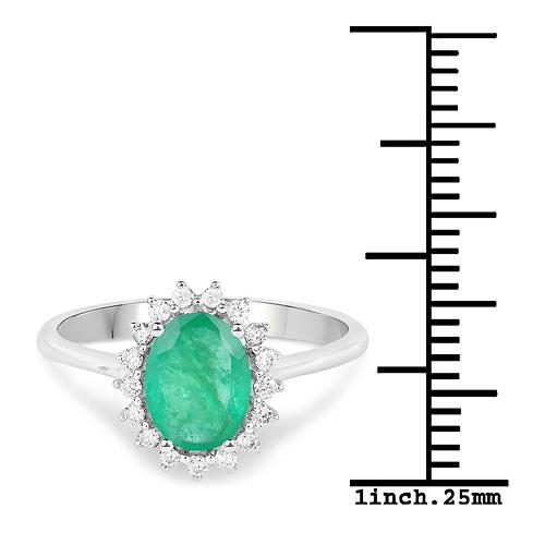 1.42 Carat Genuine Zambian Emerald and White Diamond 14K White Gold Ring