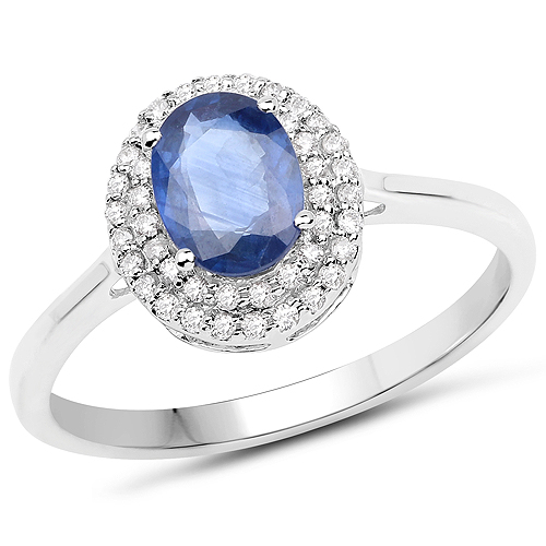 Sapphire-1.18 Carat Genuine Blue Sapphire and White Diamond 14K White Gold Ring