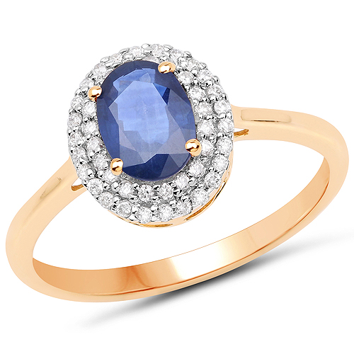 Sapphire-1.18 Carat Genuine Blue Sapphire and White Diamond 14K Yellow Gold Ring