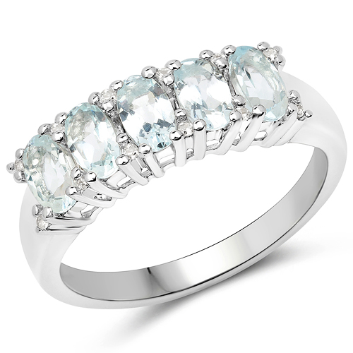 Rings-1.06 Carat Genuine Aquamarine and White Zircon .925 Sterling Silver Ring