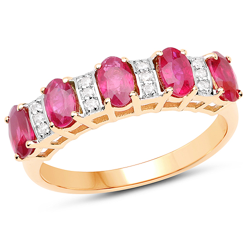 Ruby-1.30 Carat Genuine Ruby and White Diamond 14K Yellow Gold Ring