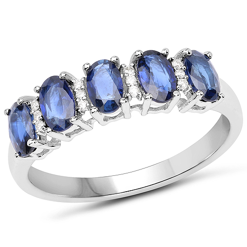 Sapphire-1.55 Carat Genuine Blue Sapphire and White Diamond 14K White Gold Ring