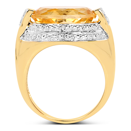 14K Yellow Gold Plated 5.06 Carat Genuine Citrine & White Diamond .925 Sterling Silver Ring