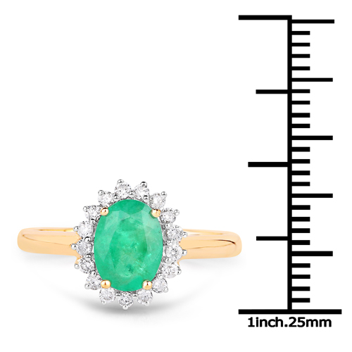1.43 Carat Genuine Zambian Emerald And White Diamond 10K Yellow Gold Ring