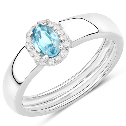 Rings-0.65 Carat Genuine Blue Zircon and White Zircon .925 Sterling Silver Ring