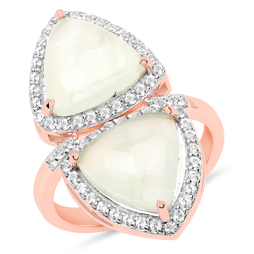 Rings-18K Rose Gold Plated 7.58 Carat Genuine Prehnite and White Topaz .925 Sterling Silver Ring