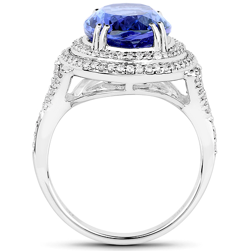 14K White Gold 6.96 Carat Genuine Tanzanite and White Diamond Ring