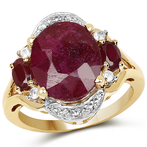 Ruby-14K Yellow Gold Plated 7.11 Carat Dyed Ruby, Genuine Ruby and White Topaz .925 Sterling Silver Ring