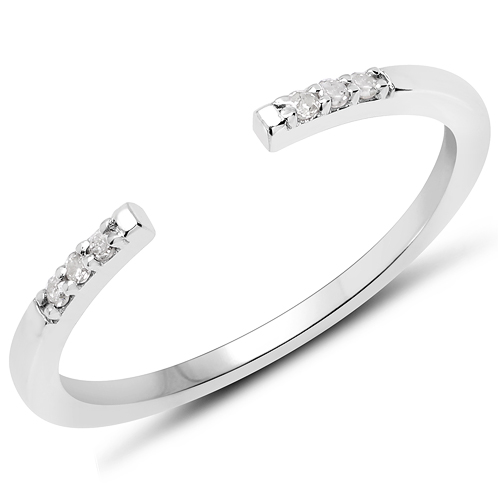 Diamond-0.05 Carat Genuine White Diamond .925 Sterling Silver Ring