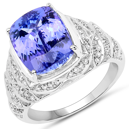 Tanzanite-14K White Gold 6.38 Carat Genuine Tanzanite and White Diamond Ring