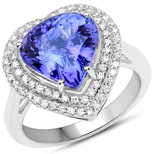Tanzanite-14K White Gold 5.82 Carat Genuine Tanzanite and White Diamond Ring