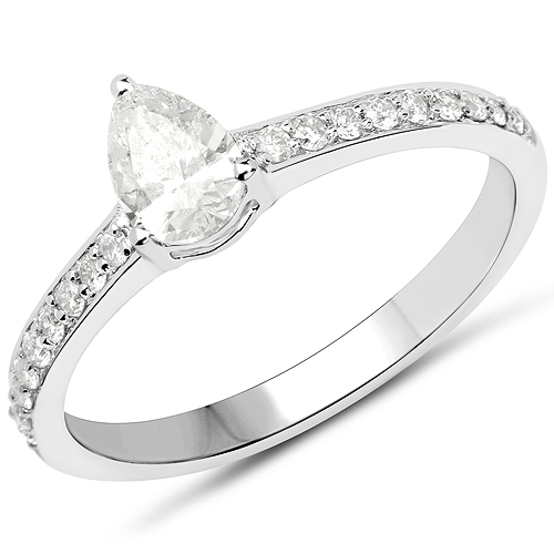 Diamond-14K White Gold 0.67 Carat Genuine White Diamond Ring