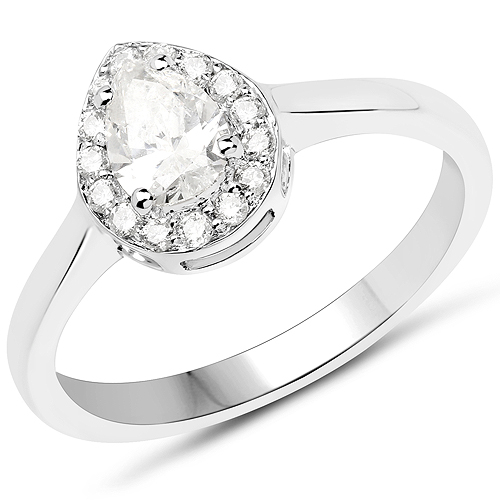 Diamond-14K White Gold 0.64 Carat Genuine White Diamond Ring