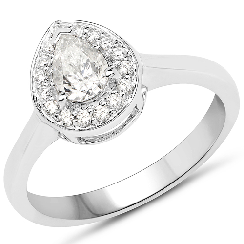 Diamond-14K White Gold 0.63 Carat Genuine White Diamond Ring