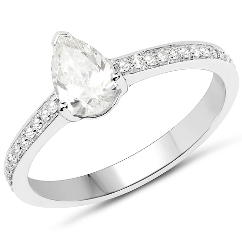 Diamond-14K White Gold 0.69 Carat Genuine White Diamond Ring