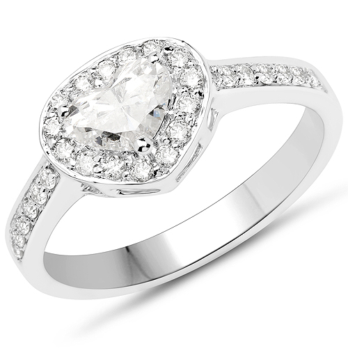 Diamond-14K White Gold 0.77 Carat Genuine White Diamond Ring