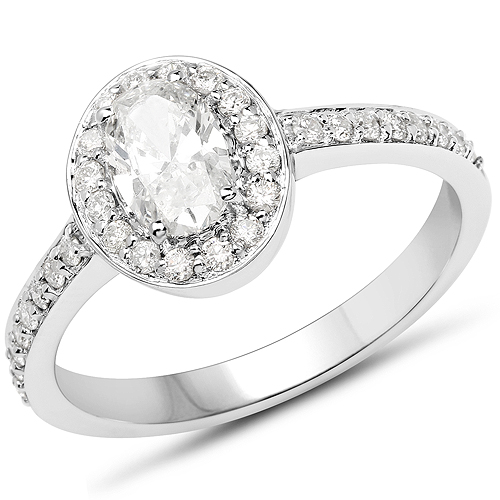 Diamond-14K White Gold 0.95 Carat Genuine White Diamond Ring
