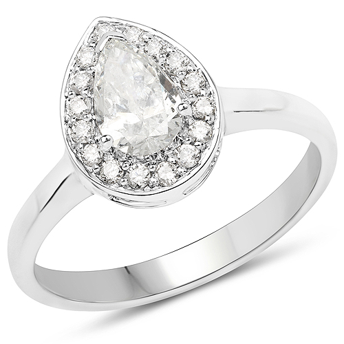 Diamond-14K White Gold 0.70 Carat Genuine White Diamond Ring