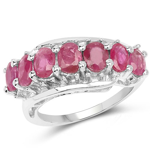 Ruby-1.98 Carat Genuine Ruby .925 Sterling Silver Ring