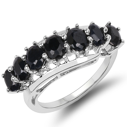 Sapphire-2.90  Carat Genuine Black Sapphire .925 Sterling Silver Ring