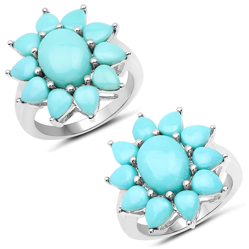 Rings-5.20 Carat Genuine Turquoise .925 Sterling Silver Ring