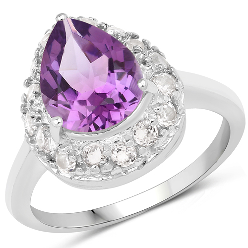 Amethyst-2.57 Carat Genuine Amethyst and White Topaz .925 Sterling Silver Ring