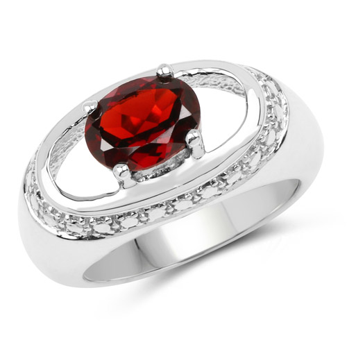 Garnet-2.50 Carat Genuine Garnet .925 Sterling Silver Ring