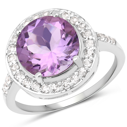 Amethyst-3.66 Carat Genuine Amethyst and White Topaz .925 Sterling Silver Ring
