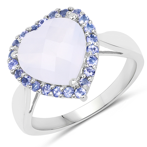 3.48 Carat Genuine Blue Chelcedonia and Tanzanite .925 Sterling Silver Ring