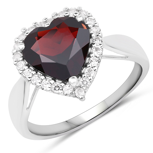 Garnet-4.18 Carat Genuine Hydrabadi Garnet and White Topaz .925 Sterling Silver Ring