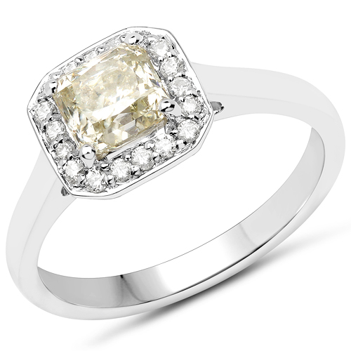 Diamond-18K White Gold 1.27 Carat Genuine Yellow Diamond and White Diamond Ring