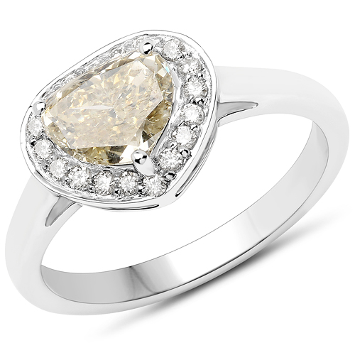 Diamond-18K White Gold 1.41 Carat Genuine Yellow Diamond and White Diamond Ring