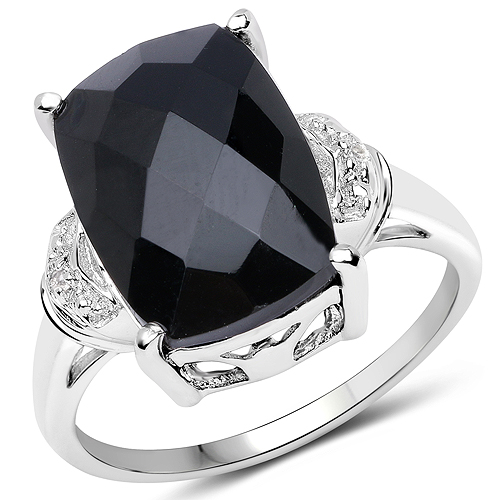 Rings-4.82 Carat Genuine Black Onyx and White Topaz .925 Sterling Silver Ring