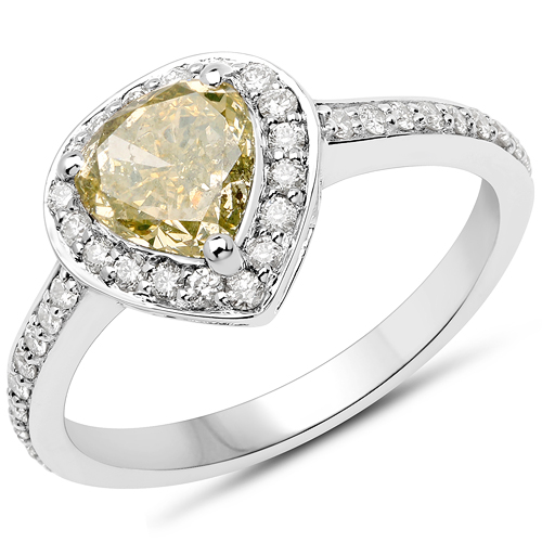 Diamond-18K White Gold 1.61 Carat Genuine Yellow Diamond and White Diamond Ring