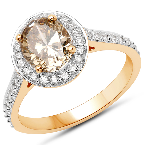 Diamond-18K Yellow Gold 2.18 Carat Genuine Chocolate Brown Diamond and White Diamond Ring