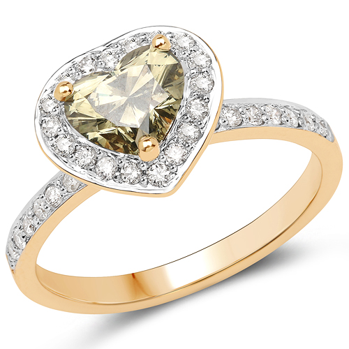 Diamond-18K Yellow Gold 1.35 Carat Genuine Green Diamond and White Diamond Ring