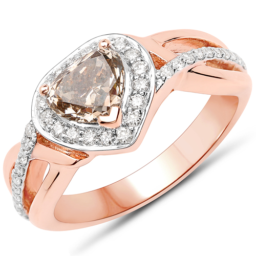 Diamond-18K Rose Gold 1.42 Carat Genuine Chocolate Brown Diamond and White Diamond Ring
