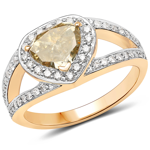 Diamond-18K Yellow Gold 1.40 Carat Genuine Brown Diamond and White Diamond Ring