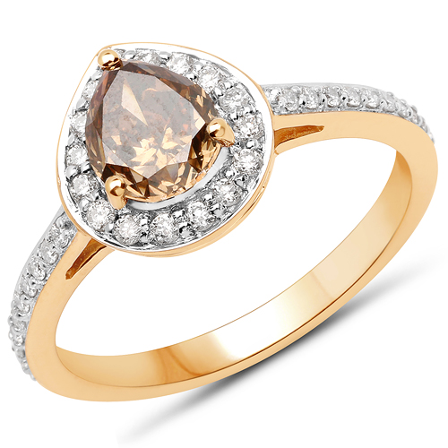 Diamond-18K Yellow Gold 1.52 Carat Genuine Chocolate Brown Diamond and White Diamond Ring