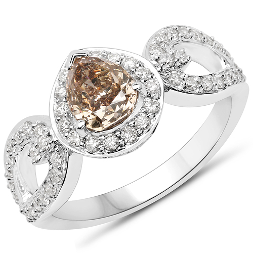 Diamond-18K White Gold 1.55 Carat Genuine Chocolate Brown Diamond and White Diamond Ring