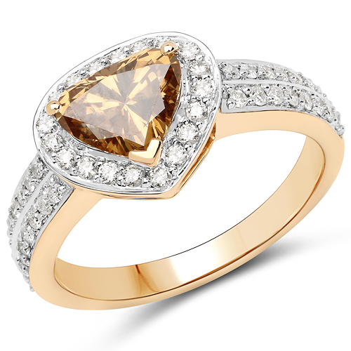 Diamond-18K Yellow Gold 1.62 Carat Genuine Choclate BrownDiamond and White Diamond Ring