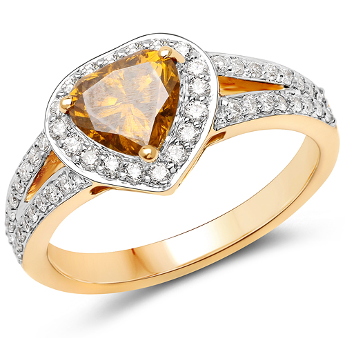 Diamond-18K Yellow Gold 1.41 Carat Genuine Yellow Diamond and White Diamond Ring