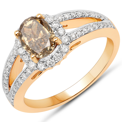 Diamond-18K Yellow Gold 1.69 Carat Genuine Chocolate Brown Diamond and White Diamond Ring