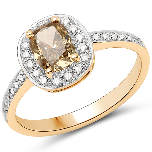 Diamond-18K Yellow Gold 1.40 Carat Genuine Chocolate Brown Diamond and White Diamond Ring