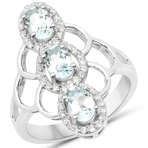 Rings-1.54 Carat Genuine Aquamarine and White Zircon .925 Sterling Silver Ring