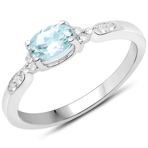 Rings-0.47 Carat Genuine Aquamarine and White Zircon .925 Sterling Silver Ring