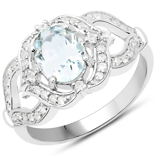 Rings-1.37 Carat Genuine Aquamarine and White Zircon .925 Sterling Silver Ring