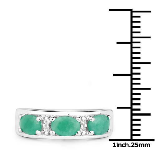 1.38 Carat Genuine Emerald and White Topaz .925 Sterling Silver Ring