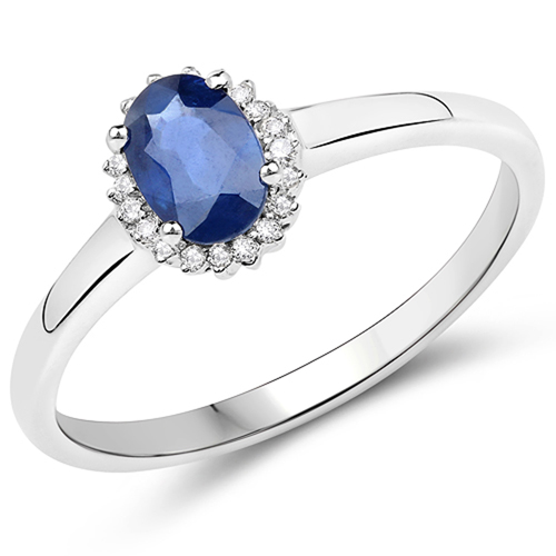 Sapphire-0.61 Carat Genuine Blue Sapphire and White Diamond 14K White Gold Ring